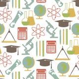 Edukacja uczenie szkolny uniwersytecki wzór z nauka elementami odizolowywał wektorową ilustrację Zdjęcie Royalty Free