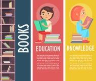 Edukacja, wiedza i książki w Brown Bookcase, ilustracja wektor