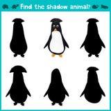 Edukacyjna dziecko kreskówki gra dla dzieci preschool wiek Znajduje prawego cienia ślicznego Antarktycznego pingwinu wektor Zdjęcia Stock