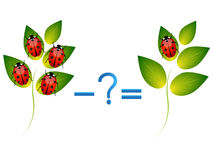 Edukacyjna gra dla dzieci, ilustracja matematycznie odejmowanie, przykłady z ladybirds Zdjęcia Stock