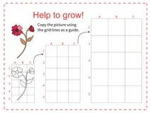 Edukacyjna gra dla dzieci kopiuje obrazek używać siatkę - Pomaga czerwonego kwiatu rosnąć - również zwrócić corel ilustracji wekt royalty ilustracja