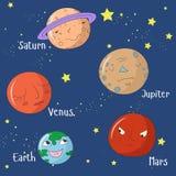Edukacyjna gra dla dzieci uczy się planety Fotografia Stock