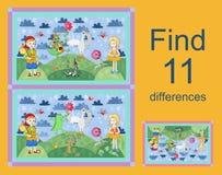 Edukacyjna gra dla dzieci znalezisko różnicy royalty ilustracja