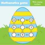 Edukacyjna gra dla dzieci Zupełni równania Nauka dodatek i odejmowanie Wielkanocny temat matematyki worksheet dla dzieciaków obrazy stock