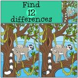 Edukacyjna gra: Znalezisko różnicy Macierzysty lemur z jej dzieckiem ilustracji