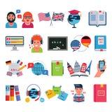 Edukacyjna język edukaci szkoła i podróż programujemy programy oddalamy online uczenie wektorowe ilustracyjne ikony ilustracja wektor
