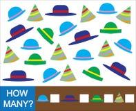 Edukacyjna matematycznie gra dla dzieci Liczy ile kapelusz ilustracja wektor