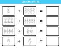 Edukacyjna matematycznie gra dla dzieciaków z rakietami ilustracji