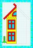 Edukacyjna strona dla dzieci na kwadratowym papierze Potrzebuje rysować drugi część considering symetrię dom Zdjęcie Stock