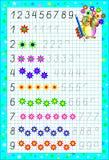 Edukacyjna strona dla dzieci na kwadratowym papierze z liczbami Zdjęcie Stock