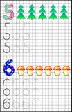 Edukacyjna strona dla dzieci na kwadratowym papierze z liczbami 5, 6 i Zdjęcie Royalty Free
