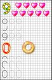 Edukacyjna strona dla dzieci na kwadratowym papierze z liczbami 9, (0) i Fotografia Royalty Free
