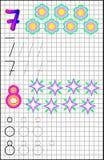 Edukacyjna strona dla dzieci na kwadratowym papierze z liczbami 7, 8 i Obrazy Royalty Free