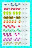 Edukacyjna strona dla dzieci z ćwiczeniami na kwadratowym papierze z liczbą 6 Zdjęcia Stock