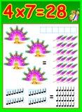 Edukacyjna strona dla dzieci z mnożenie stołem Obraz Stock