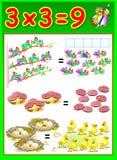 Edukacyjna strona dla dzieci z mnożenie stołem Zdjęcie Royalty Free