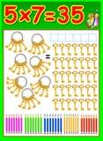 Edukacyjna strona dla dzieci z mnożenie stołem Zdjęcie Stock