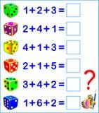Edukacyjna strona z ćwiczeniami dla dzieci na dodatku Liczy liczbę kropki na dices royalty ilustracja