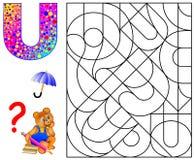 Edukacyjna strona z listem U dla nauka Angielskich listów Logiki łamigłówki gra Znalezisko i maluje 5 listów U Obraz Royalty Free
