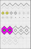 Edukacyjna strona z ćwiczeniami dla dzieci na kwadratowym papierze Zdjęcie Stock