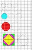 Edukacyjna strona z ćwiczeniami dla dzieci na kwadratowym papierze Obrazy Royalty Free