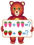 Edukacyjne gry dla dzieci, ilustrują matematycznie przygotowanie z jagodami, Zdjęcie Stock
