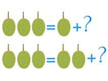 Edukacyjne gry dla dzieci, na składzie trzy, przykład z durian ilustracja wektor