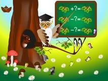 Edukacyjne gry dla dzieci z sowa nauczycielem Fotografia Royalty Free