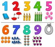 Edukacyjne kreskówek liczby ustawiać z przedmiotami ilustracja wektor