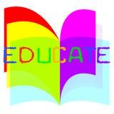 Eduque a educação indica que o estudo aprende e treinamento ilustração do vetor