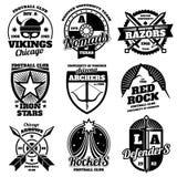 Eduque emblemas, etiquetas atléticas dos esportes de equipes da faculdade, coleção do vetor dos gráficos do t-shirt ilustração royalty free