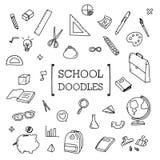 Eduque a garatuja, estilos do desenho da mão do material da escola Foto de Stock