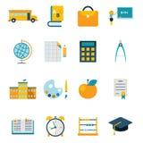 Eduque a ilustração lisa na moda moderna ajustada ícones isolada do vetor Fotografia de Stock