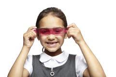 Eduque a menina com régua cor-de-rosa e o setsquare azul Imagem de Stock Royalty Free