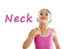 Eduque o cartão da menina que aponta em seus pescoço e garganta no fundo branco Imagens de Stock