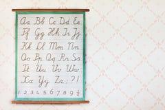 Eduque o cartaz com o alfabeto na frente do papel de parede retro foto de stock royalty free