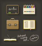 Eduque a pasta e o quadro-negro lisos do lápis do livro dos ícones Imagens de Stock Royalty Free