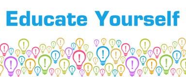 Eduque-se bulbos coloridos com texto ilustração royalty free