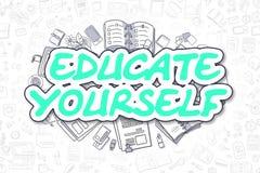 Eduque-se - palavra verde da garatuja Conceito do negócio ilustração royalty free