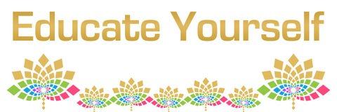Eduque usted mismo horizontal floral colorido stock de ilustración
