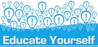 Eduque você mesmo bulbos azuis do fundo na parte superior ilustração stock