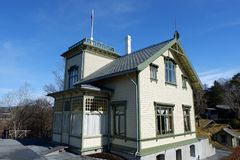 Edvard Grieg`s house. Troldhaugen is the former home of Norwegian composer Edvard Grieg and his wife Nina Grieg. Troldhaugen is located in Bergen, Norway and Stock Images