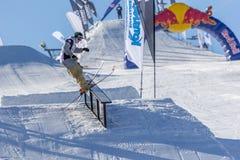 Edvards Lansmanis, Lithuanian skier. Bialka Tatrzanska, Poland -  February 14 2015: Lithuanian skier Edvards Lansmanis during freestyle jump at the Polish Royalty Free Stock Image
