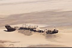 Edward Bohlen-schipbreuk op Namib-woestijn, Skeletkust, Namibië royalty-vrije stock foto's