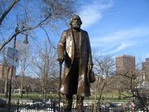 Edward Everett Hale Sculpture, Boston Public Garden, Boston, Massachusetts, USA. Bronze and granite sculpture of writer and Unitarian minister Edward Everett Stock Image