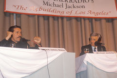 Edward James Olmos and radio host Michael Jackson during conference, South Central Los Angeles, California Stock Photo