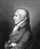 Edward Jenner. (1749-1823) on engraving from 1859. The Father of Immunology. Pioneer of smallpox vaccine. Engraved by unknown artist and published in Meyers Royalty Free Stock Photo
