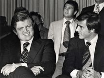 Edward M. Kennedy and Jerry Brown stock images