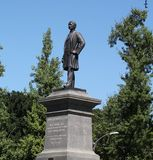 Edward Manning Bigelow Statue. Reads: Whose Untiring Efforts Secured To The People Of Pittsburgh Schenley & Highland Parks Erected By A Public Subscription Stock Images