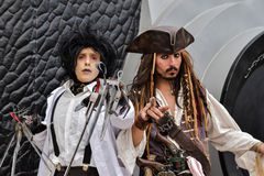 Edward Scissorhands and Captain Jack Sparrow Johnny Depp, cosplays Royalty Free Stock Photo